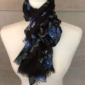 Black and Blue Floral Print Scarf
